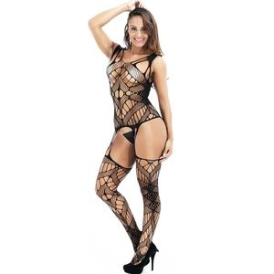 Sexy Plus Size Strapped Hollow Fishnet Bodysuit